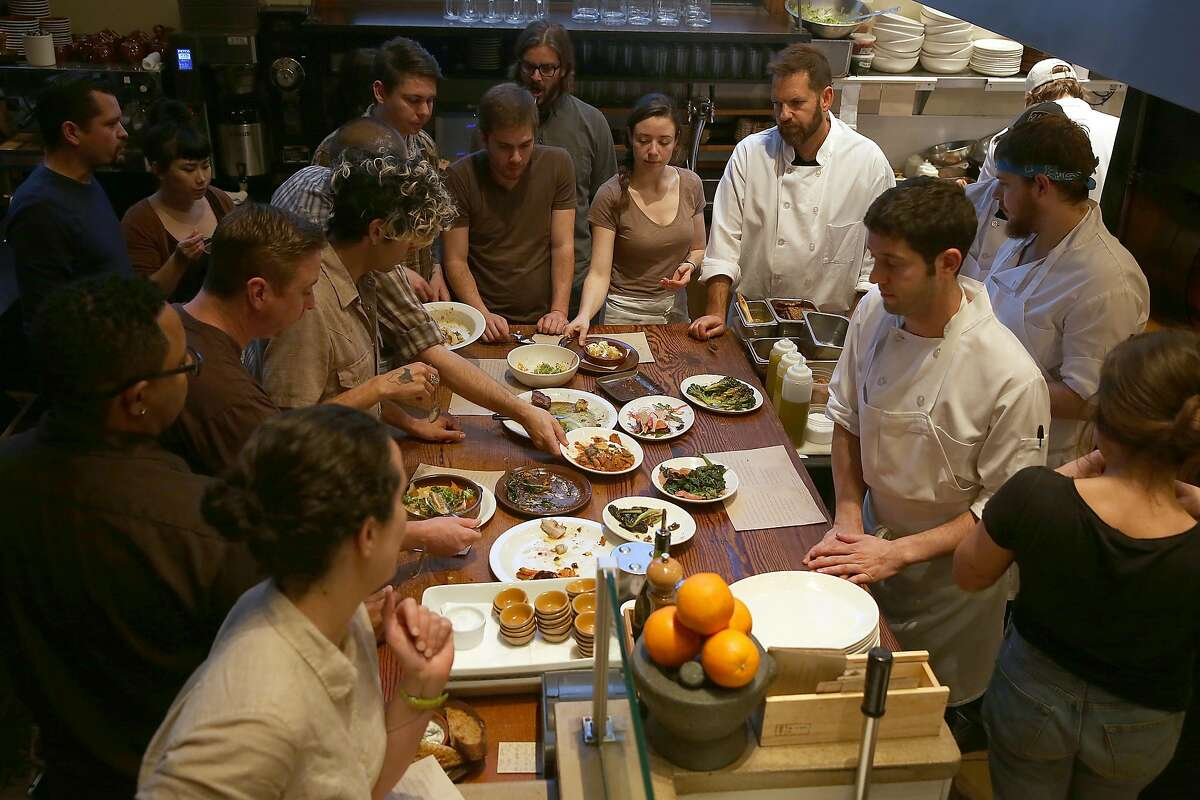 Nopa staff join owner/chef Laurence Jossel (top right) at Nopa in San Francisco, California, to taste tonight's menu on tuesday, march 8, 2016. Nopa is celebrating it's tenth anniversary.