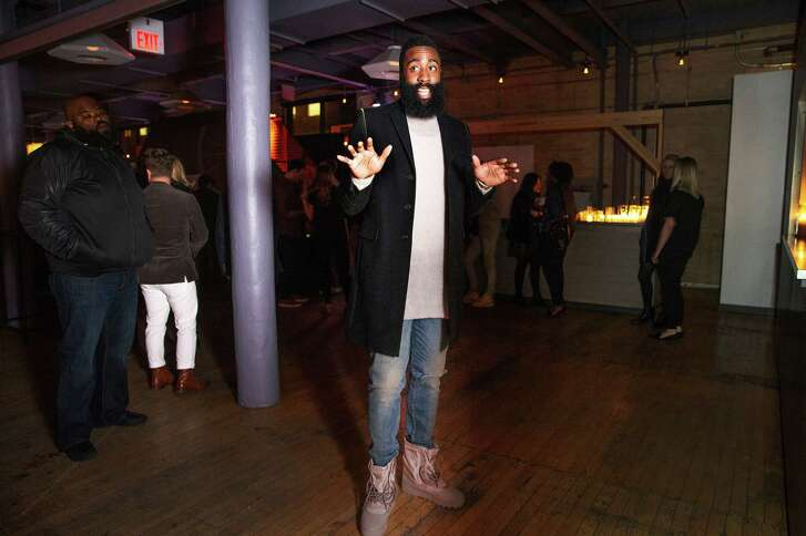 James Harden of the Houston Rockets at a cocktail reception hosted by GQ magazine and Saks Fifth Avenue ahead of the NBA All-Star Game in Toronto, Ontario, Canada, Feb. 13, 2016. Off-court events filled the weekend, many sponsored by fashion brands seeking sports star power. (Michelle Siu/The New York Times)