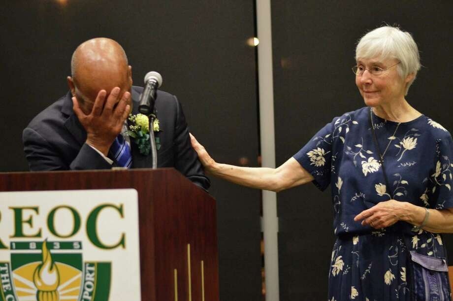 Sister Barbara Lum with Rep. John Lewis  at the Graduation of Rochester Educational Opportunity Center (a Suny College) where Sister Barbara teaches  in Rochester.  During his talk he spoke of Bloody Sunday and he thanked Sister Barbara and the Sisters of Saint Joseph from Rochester for their care of him and the other marchers that were wounded on that day on the  Edmund Pettus Bridge.