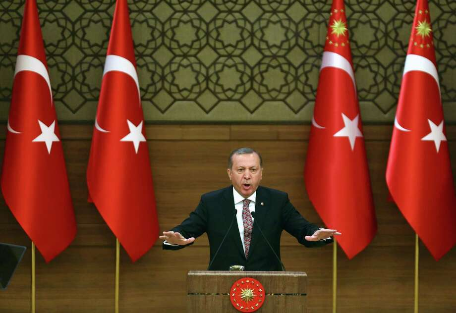 Turkey's President Recep Tayyip Erdogan delivering a speech during the monthly Mukhtars meeting (local administrators) at the Presidential Complex in Ankara.  / AFP PHOTO / ADEM ALTANADEM ALTAN/AFP/Getty Images Photo: ADEM ALTAN, Stringer / AFP or licensors