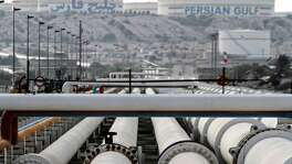 A picture shows export oil pipelines at an oil facility opn Iran's Khark Island. Iran — a key advocate of output restraint in previous years — is unlikely to push for a new group limit as it remains focused on restoring exports previously constrained by sanctions, said Mike Wittner, head of oil market research at Societe Generale SA in New York.
