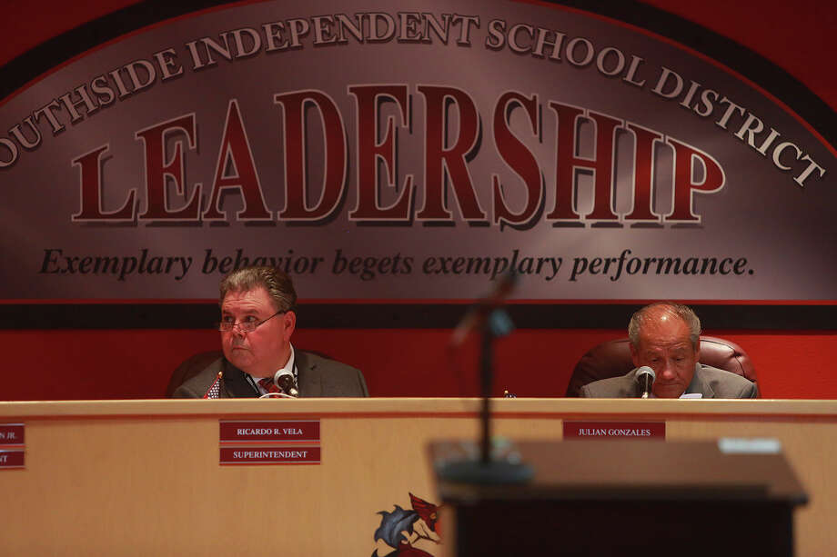 As shown in this file photo, Southside Independent School District's board meeting room features a sign extolling leadership, but that trait has been lacking among school board members in recent years. Photo: Lisa Krantz /San Antonio Express-News / ©2015 San Antonio Express-News