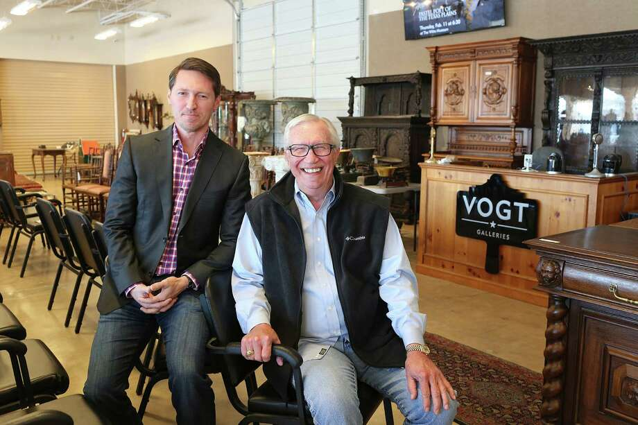 Gene Vogt (right) and son Rob Vogt pose in the showroom of Vogt Auction Galleries. The business relocated to 7233 Blanco Road early this year. Photo: Jerry Lara /San Antonio Express-News / © 2016 San Antonio Express-News