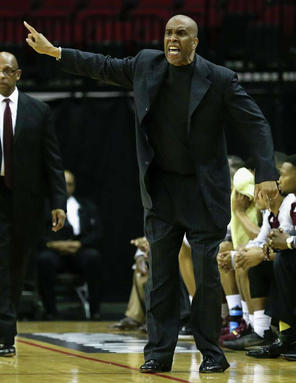 Texas Southern Tigers Mike Davis argues with the officials during the SWAC basketball tournament Friday, March 11, 2016 at the Toyota Center in Houston.