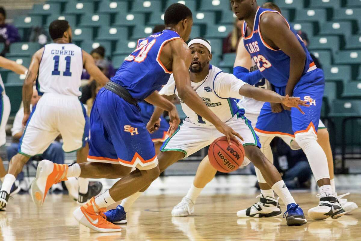 Sam Houston State Bearkats' guard Jamal Williams (20) has the ball knock away at mid court by Texas A&M Corpus Christie Islanders' guard Hameed Ali (1) in the second half of the of the Southland Conference mens basketball semifinal game at the Merrell Center on Friday, March 11, 2016, in Katy, TX.