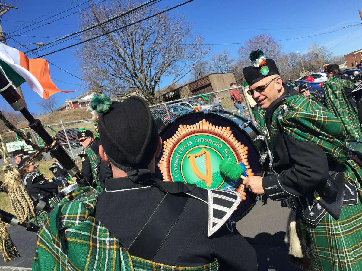 The New York State Corrections Emerald Society Pipe Band warms up for the North Albany St. Patrick's Day Parade, on Saturday, March 12, 2016. (Cindy Schultz/Times Union)