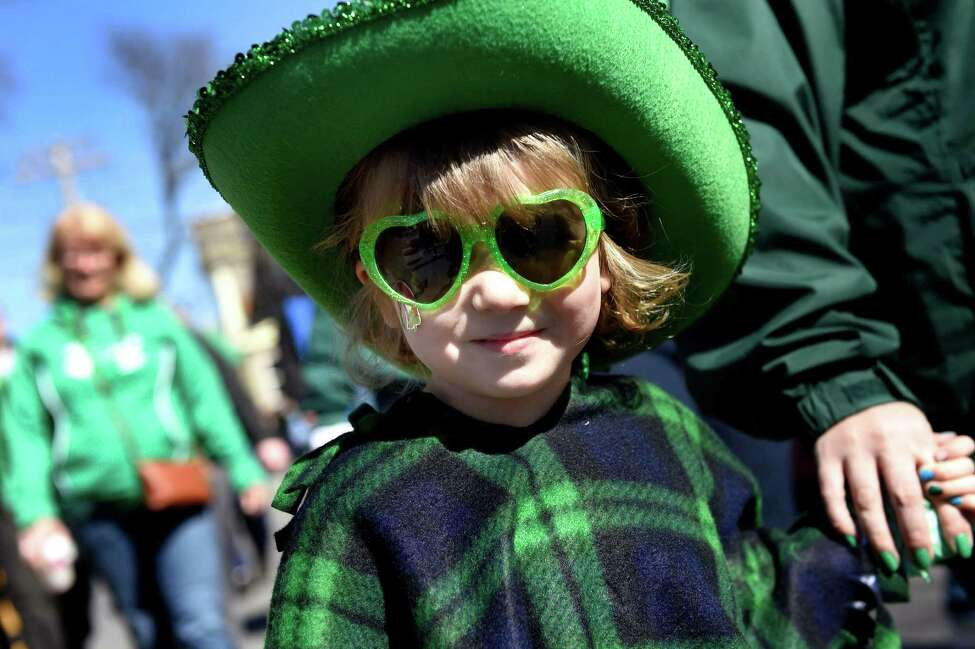 Ciara McMahon, 4, of East Greenbush shows her Irish pride as she walks in the North Albany Limerick's St. Patrick's Parade on Saturday, March 12, 2016, in Albany, N.Y. (Cindy Schultz / Times Union)