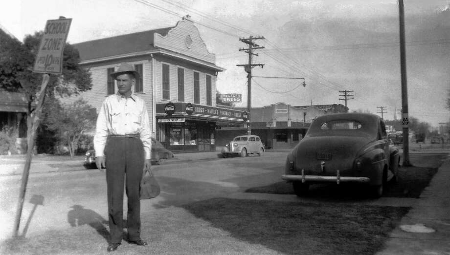 Sherrill Shelton might be about to ship out with the Navy in this photo believed to have been taken around 1943 at the northwest corner of West Commerce and North Cibolo streets. Photo: James Shelton /Courtesy Photo