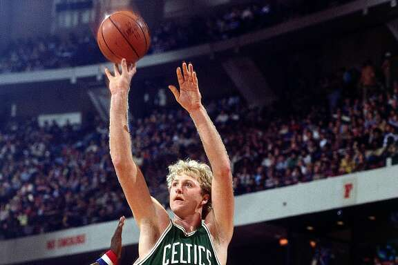1982: Larry Bird #33 of the Boston Celtics takes a jumpshot during an NBA game. NOTE TO USER: User expressly acknowledges and agrees that, by downloading and or using this photograph, User is consenting to the terms and conditions of the Getty Images License Agreement. (Photo by Jerry Wachter/ NBAE/ Getty Images)