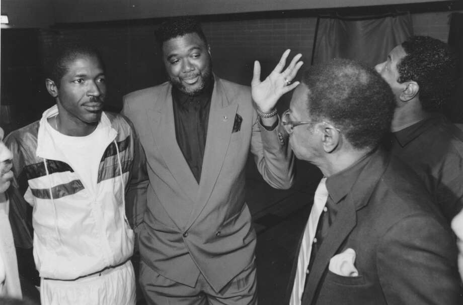 Former Wheatley High players Lawrence Johnson, Dwight Jones and coach Jackie Carr share a few memories of the 1970 Wheatley Wildcats, at reunion Feb. 27, 1992.   HOUCHRON CAPTION (03/01/1992):  Former players Lawrence Johnson, Dwight Jones and coach Jackie Carr share a few memories of the 1970 Wheatley Wildcats.  HOUCHRON CAPTION (11/08/2002): Jones. Photo: Steve Ueckert, Houston Chronicle / HOUSTON CHRONICLE