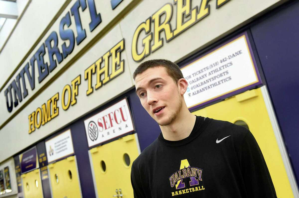 UAlbany basketball player Joe Cremo on Wednesday, March 9, 2016, at UAlbany in Albany, N.Y. (Cindy Schultz / Times Union)