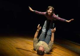 "Gabriella Pizzolo (top) and Michael Cervereis in the Broadway production of ""Fun Home"""