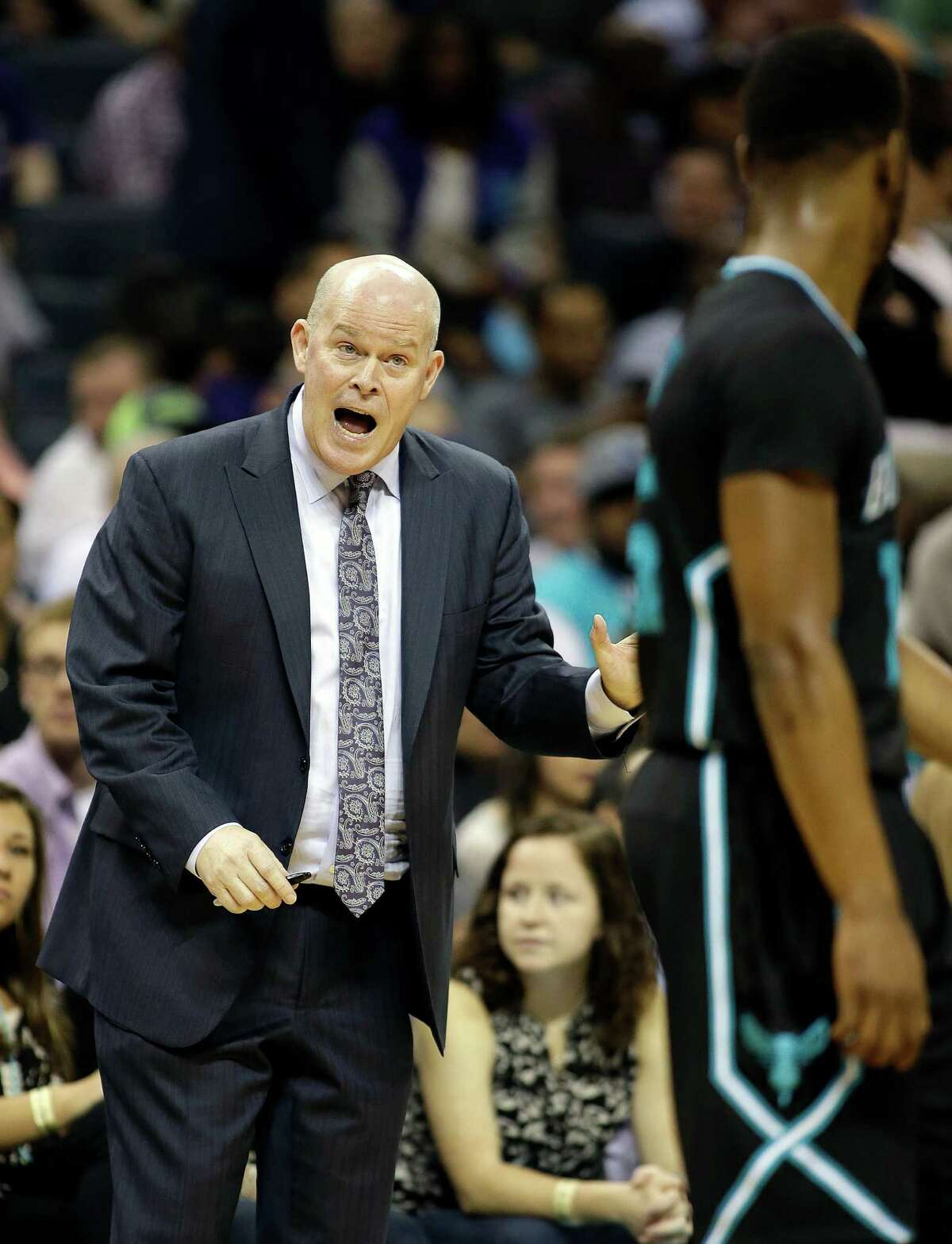 Charlotte Hornet head coach Steve Clifford yells during the second half of an NBA basketball game against the Houston Rockets in Charlotte, N.C., Saturday, March 12, 2016. The Hornets won 125-109.