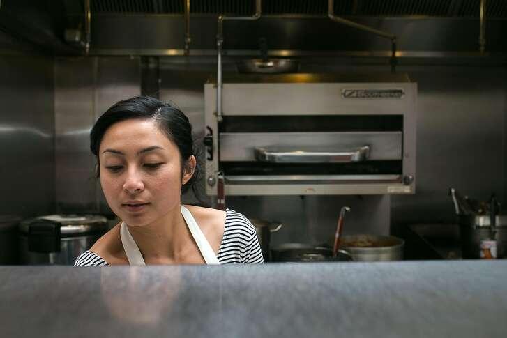 Nite Yun in the kitchen preparing for dinner service Nyum Bai at Gashead Tavern in S.F.