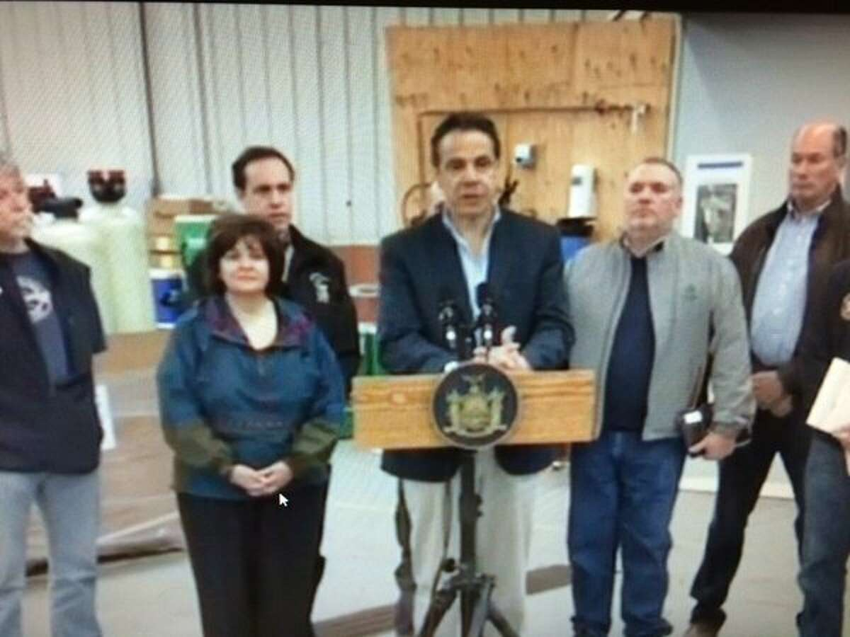 Gov. Andrew Cuomo speaks at a press conference in Hoosick Falls March 13, 2016. (Photo taken off state live feed of press conference)