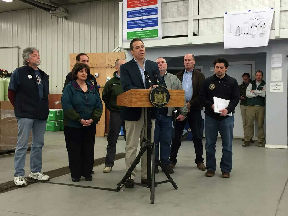 Gov. Andrew Cuomo holds press conference in Hoosick Falls Sunday, March 13, 2016. (Matthew Hamilton)