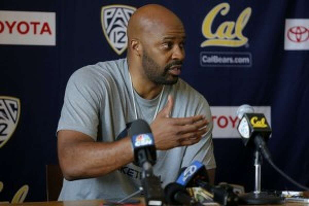Head coach Cuonzo Martin speaks to the media before a Cal Bears men's basketball practice in Berkeley, California, on Wednesday, Oct. 7, 2015.