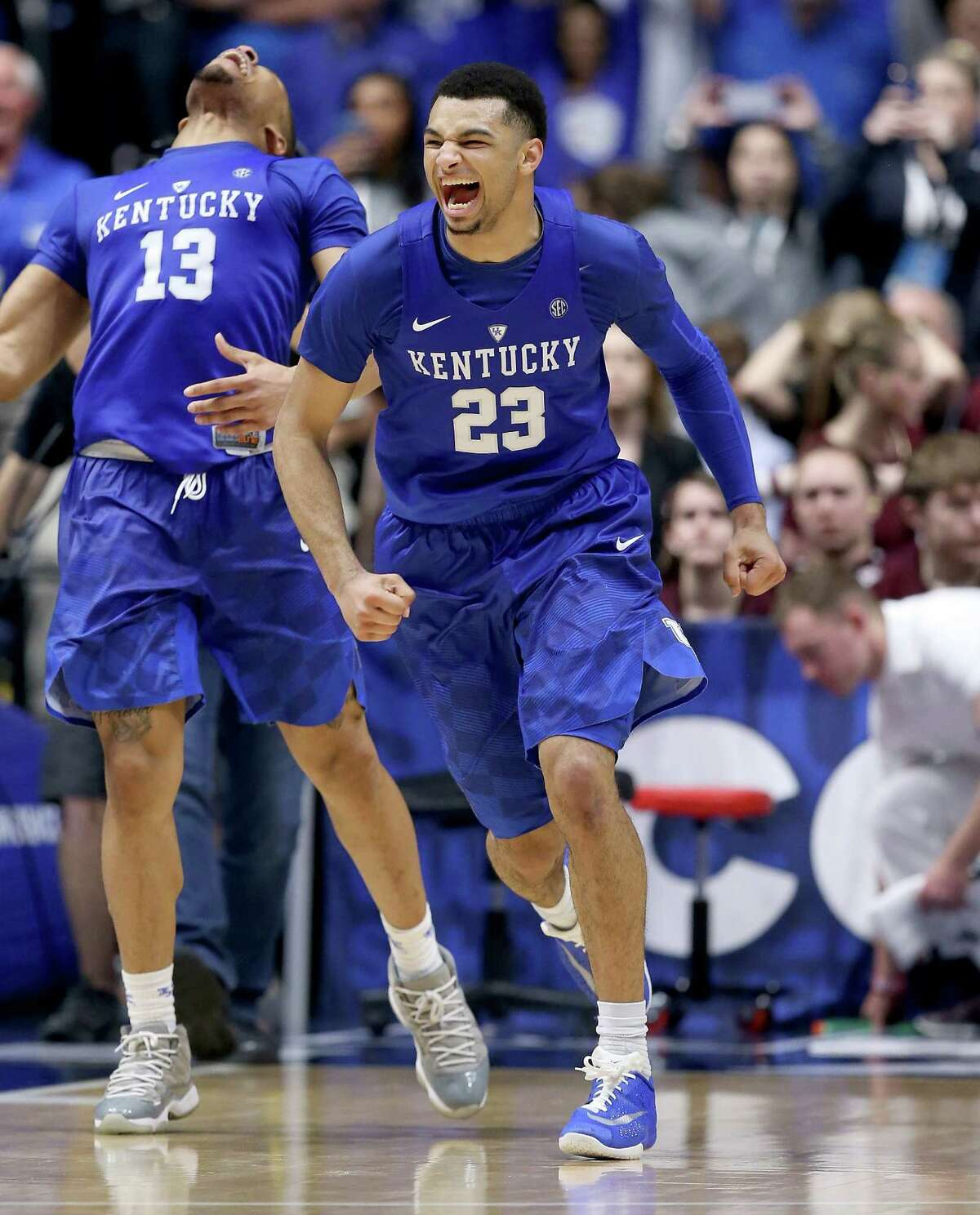NASHVILLE, TN - MARCH 13: Jamal Murray #23 of the Kentucky Wildcats celebrates after the 82-77 OT win over the Texas A&M Aggies in the Championship Game of the SEC Basketball Tournament at Bridgestone Arena on March 13, 2016 in Nashville, Tennessee.