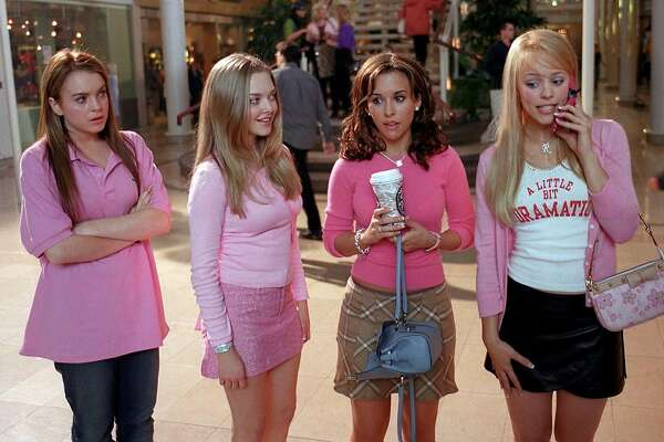 Lindsay Lohan (from left) as Cady, Amanda Seyfried as Karen, Lacey Chabert as Gretchen and Rachel McAdams as Regina in �Mean Girls.� Paramount Pictures presents a Lorne Michaels Production, �Mean Girls,� starring Lindsay Lohan, Rachel McAdams, Tim Meadows, Amy Poehler, Ana Gasteyer and Tina Fey.  Directed by Mark Waters from a screenplay by Tina Fey, based on the book Queen Bees and Wannabes by Rosalind Wiseman, the film is produced by Lorne Michaels, executive produced by Jill Messick and co-produced by Louise Rosner.  Paramount Pictures is part of the entertainment operations of Viacom Inc., one of the world�s largest entertainment and media companies and a leader in the production, promotion and distribution of entertainment, news, sports and music.  This film is rated PG-13 by the Motion Picture Association of America for sexual content, language and some teen partying. MG C1030-1 Photo by:  Michael Gibson