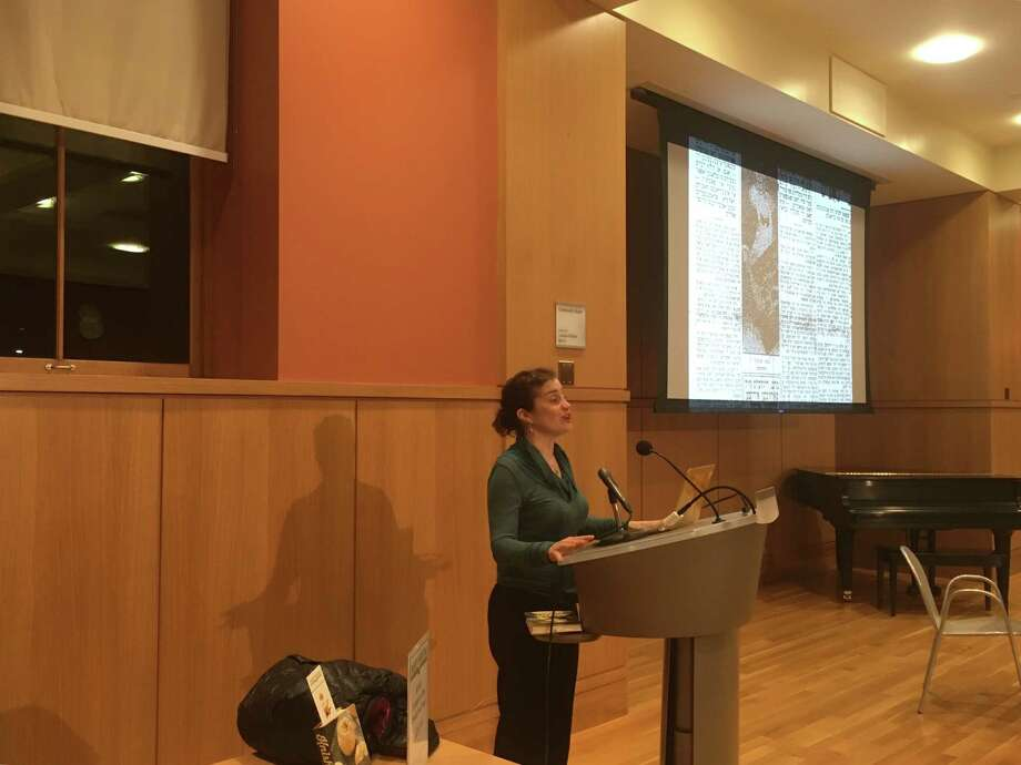 "Laura Silver, author of ""Knish: In Search of the Jewish Soul Food,"" spoke on Tuesday at the Darien Library about her book. Photo: Justin Papp / Justin Papp"
