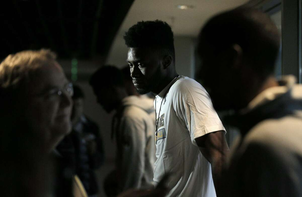 Jaylen Brown is interviewed after the Cal men's basketball team watched the NCAA men's basketball tournament selection show in Memorial Stadium in Berkeley, Calif., on Sunday, March 13, 2016. The Bears earned a No. 4 seed to play against Hawaii in Spokane.