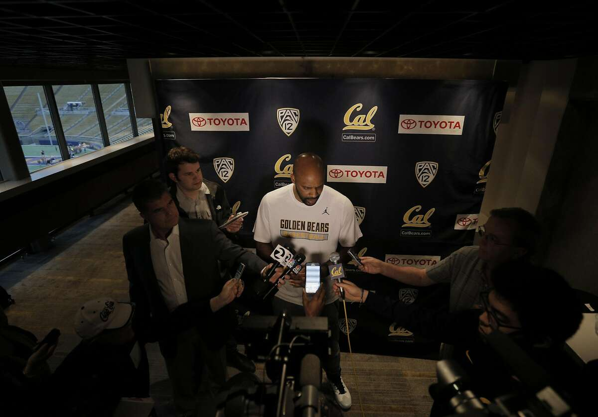Head coach Cuonzo Martin speaks to gathered media after the Cal men's basketball team watched the NCAA men's basketball tournament selection show in Memorial Stadium in Berkeley, Calif., on Sunday, March 13, 2016. The Bears earned a No. 4 seed to play against Hawaii in Spokane.