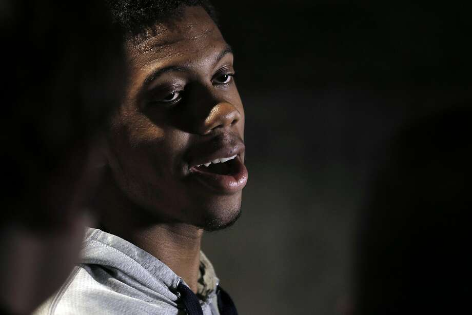 Tyrone Wallace, a senior on the Cal basketball team and the only player with tournament experience, speaks to the press after the Cal men's basketball team watched the NCAA men's basketball tournament selection show in Memorial Stadium in Berkeley, Calif., on Sunday, March 13, 2016. The Bears earned a No. 4 seed to play against Hawaii in Spokane. Photo: Carlos Avila Gonzalez, The Chronicle