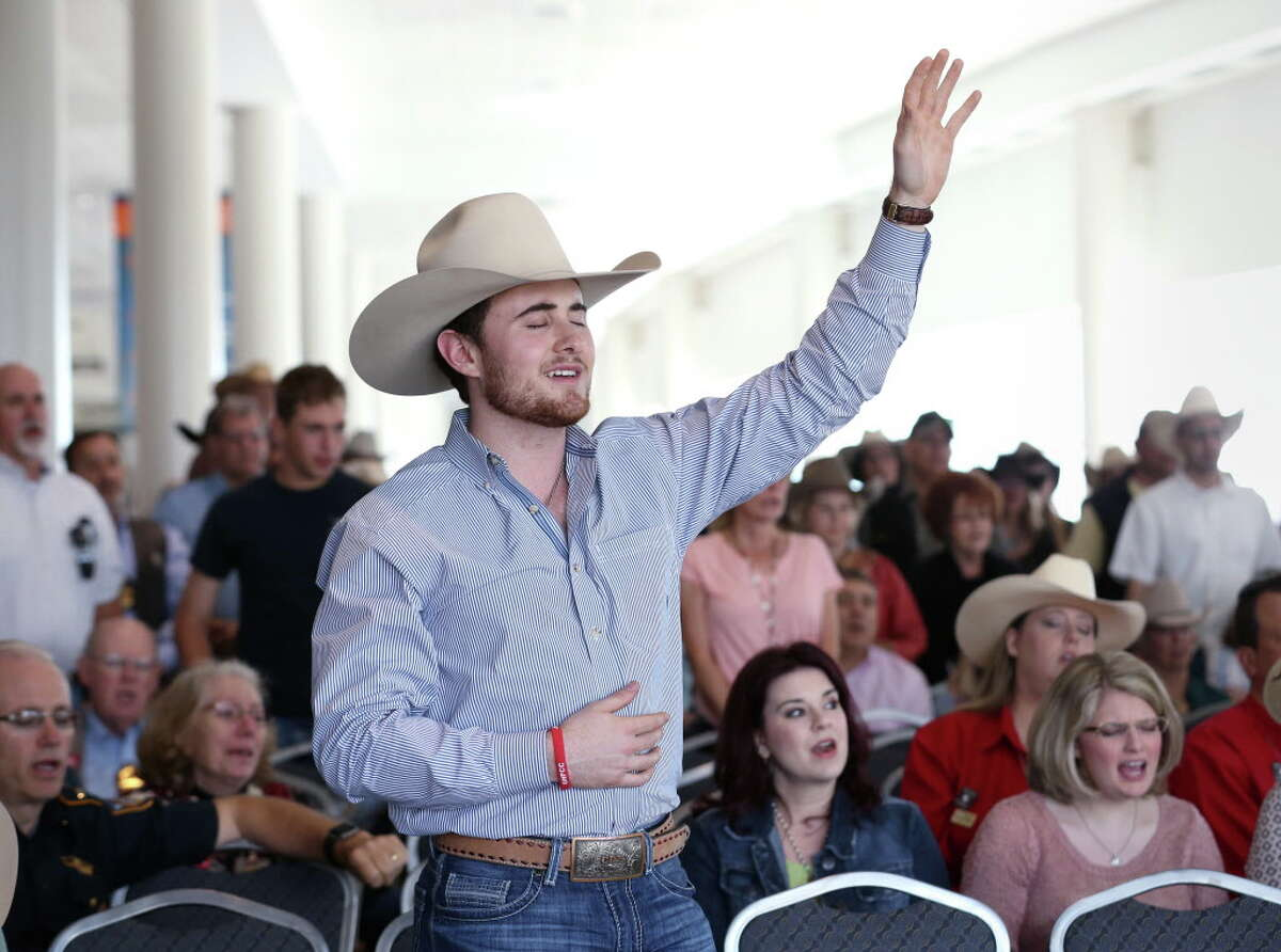 Clayton Patterson sings during Cowboy Church at the Houston Livestock Show and Rodeo Sunday, March 13, 2016, in Houston.