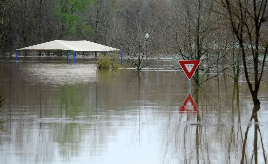 Floodwaters partially submerge a picnic pavilion at Chain Park in Hattiesburg, Miss., Saturday, March 12, 2016, after two days of heavy rains in the Pine Belt area. (Ryan Moore/WDAM-TV, via AP) ORG XMIT: MSHO105 Photo: Ryan Moore / WDAM-TV