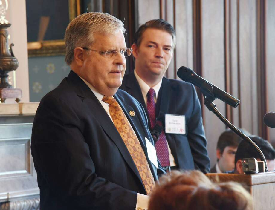 ADVANCE FOR USE MONDAY, MARCH 14, 2016 AND THEREAFTER - FILE - In this Feb. 4, 2016 file photo, Missouri Senate President Pro Tem Ron Richard speaks at an annual press association event, at the Governor's Mansion in Jefferson City, Missouri, as House Speaker Todd Richardson looks on. Richard was asked whether lawmakers' emails and daily calendars should be open to the public under the state Sunshine Law. He responded by saying he would provide those items. But Richard later denied a formal open-records request for his emails and calendar. (Julie Smith/News Tribune via AP, File) ORG XMIT: MOJEF201 Photo: Julie Smith / News Tribune