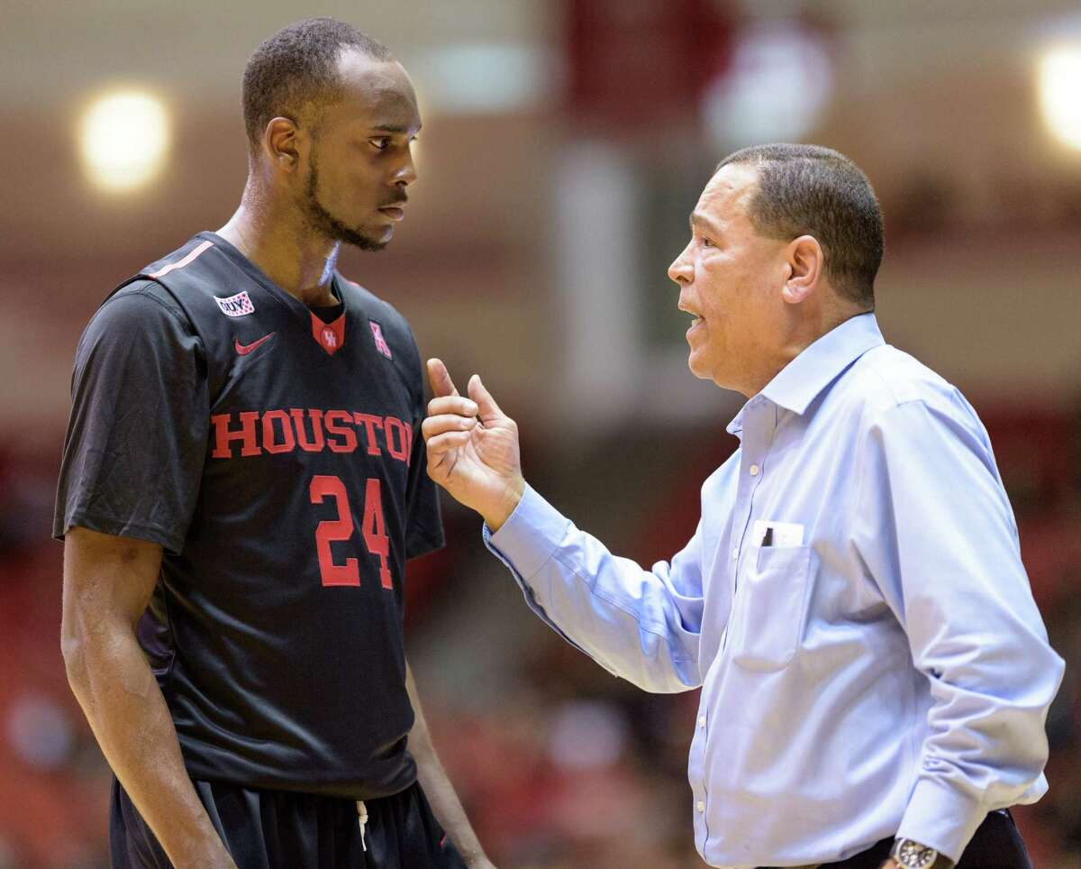 Houston Cougars Head Coach, Kelvin Sampson gives instructions to Devonta Pollard (24) during a time out in the second half against the Temple Owls in a college basketball game on Sunday, February 21, 2016 at Hofheinz Pavilion.