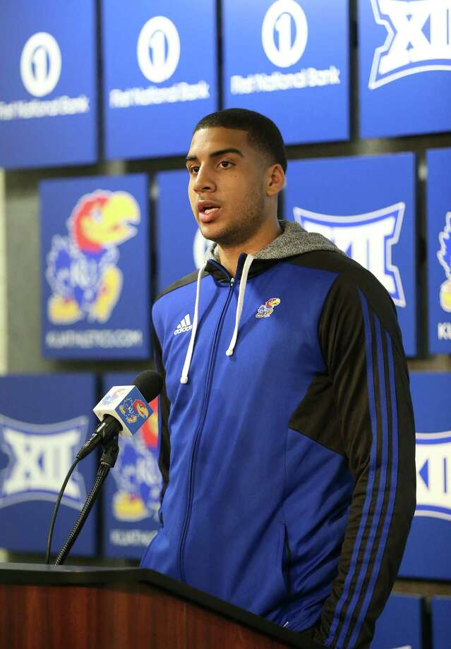Kansas forward Landen Lucas talks with media members during a news conference following the NCAA tournament selection show on CBS, at Allen Fieldhouse on the campus of the University of Kansas in Lawrence, Kan., Sunday, March 13, 2016. The Jayhawks were given the No. 1 seed in the South Regional and will play Austin Peay on Thursday in Des Moines, Iowa. (Nick Krug/The Lawrence Journal-World via AP) MANDATORY CREDIT ORG XMIT: KSLAW103 Photo: Nick Krug / Lawrence Journal-World