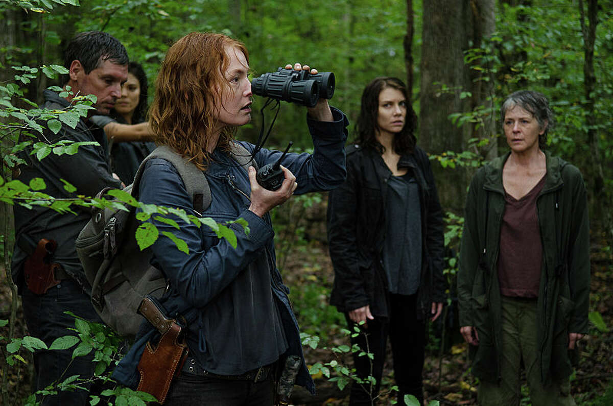 Alicia Witt as Paula, Lauren Cohan as Maggie Greene, and Melissa McBride as Carol Peletier - The Walking Dead _ Season 6, Episode 13 - Photo Credit: Gene Page/AMC