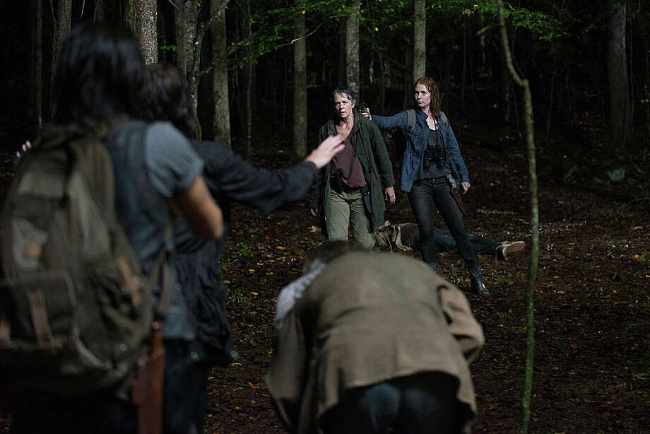 Melissa McBride as Carol Peletier and Alicia Witt as Paula - The Walking Dead _ Season 6, Episode 13 - Photo Credit: Gene Page/AMC Photo: Gene Page/AMC, Rene A. Guzman / © 2016 AMC Film Holdings LLC. All Rights Reserved.