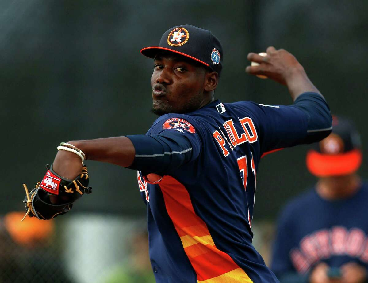 Houston Astros pitcher David Paulino (71) during the first workout for Houston Astros pitchers and catchers for spring training in Kissimmee, Florida, Friday, Feb. 19, 2016.
