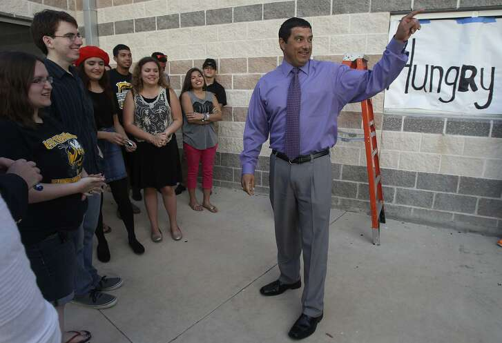 Rolando Toscano speaks with students at East Central High School in 2014, when he was principal there. Now he's the district superintendent.
