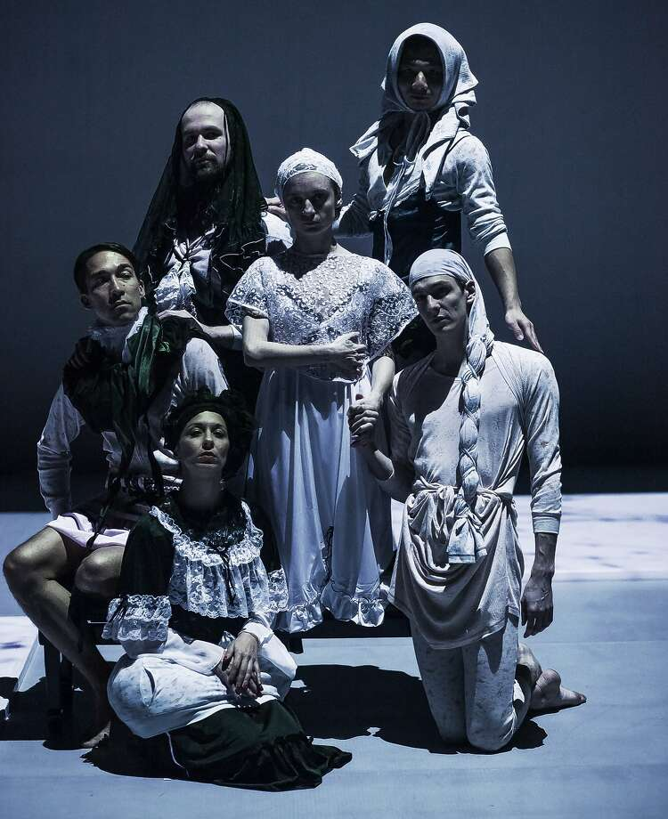 """Dancers Thibault Lac, Ondrej Vidlár, Stephen Thompson, Perle Palombe, Christina Vasileiou, and Camille Durif Bonis perform in Trajal Harrell's """"The Ghost of Montpellier Meets the Samurai"""" Friday, March 18 and Saturday, March 19 in the Zellerbach Playhouse. Photo: Orpheas Emirzas"""