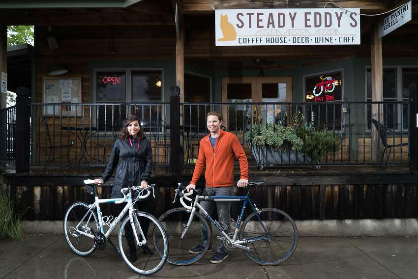 Luciana and Chris Turkovich pose for a photograph outside Steady Eddy's in Winters, Calif. on Friday, March 11, 2016. Turkovich is a local wine maker and avid cyclist.
