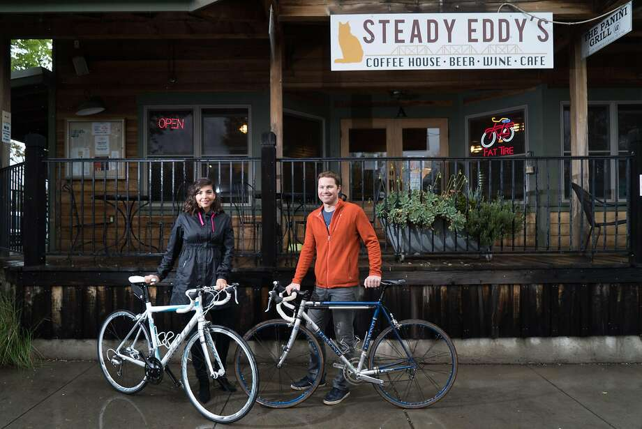 Luciana and Chris Turkovich pose for a photograph outside Steady Eddy's in Winters, Calif. on Friday, March 11, 2016. Turkovich is a local wine maker and avid cyclist. Photo: James Tensuan / Special To The Chronicle