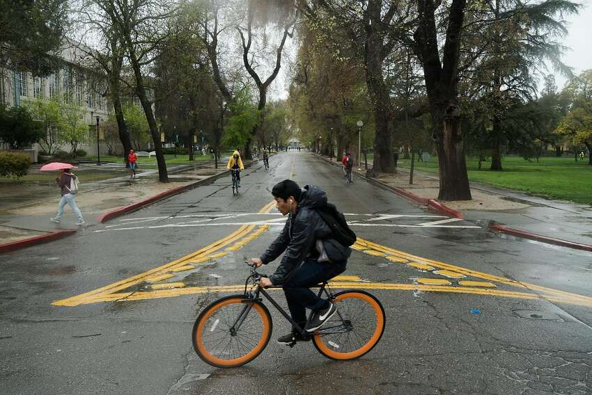 Pedestrians and bicyclists on the UC Davis campus.