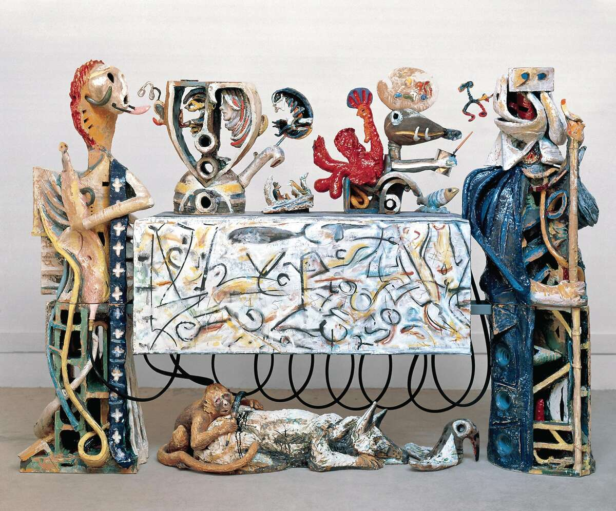 """Robert Arneson's 86-by-119-by-26-inch ceramic and multimedia work """"Guardians of the Secret II"""" (1989-1990) makes its West Coast debut in """"Robert Arneson: Guardians of the Secret II"""" through May 7 at Brian Gross Fine Art."""