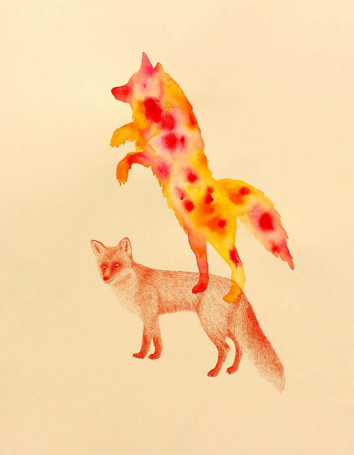 "Masako Miki's ink and watercolor ""Message From Ghost"" is part of ""Conversations With Fox, Feather and Ghost."" Photo: Courtesy Cult"