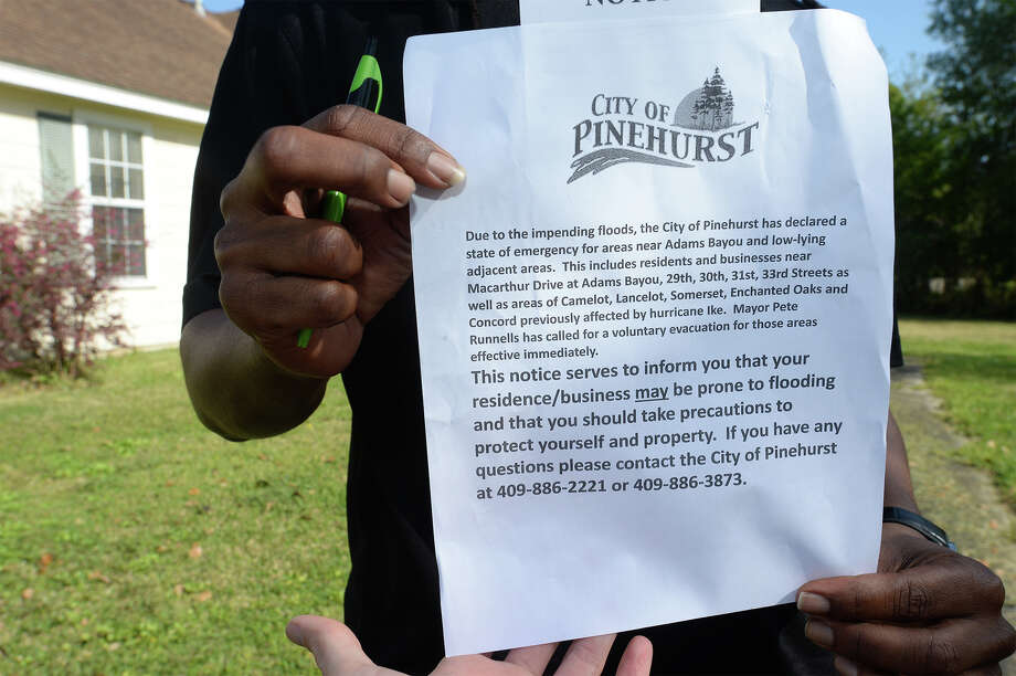 A copy of the City of Pinehurst's notice to residents that flooding will occur in low-lying areas of the city. Photo taken Monday, March 14, 2016 Guiseppe Barranco/The Enterprise Photo: Guiseppe Barranco, Photo Editor