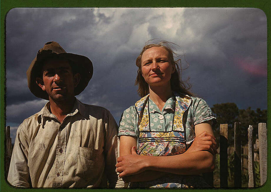 "Original caption reads: ""Faro and Doris Caudill, homesteaders, Pie Town, New Mexico."" Photo dated October 1940, by Russell Lee. Photo: Farm Security Administration — Office Of War Information Collection, Library Of Congress / 2016 Public Domain"