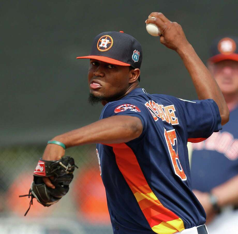 """Boasting a 99 mph fastball, pitcher Jandel Gustave has what Astros manager A.J. Hinch calls """"wipeout capabilities."""" The 23-year-old righthander is coming off his best pro season, having gone 5-2 with a 2.15 ERA and 20 saves for Class AA Corpus Christi. Photo: Karen Warren, Staff / © 2015  Houston Chronicle"""