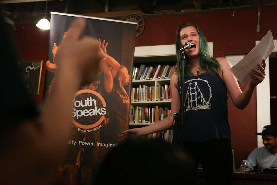 Youth Speaks poet Melanie Harra, 16, performs at the Teen Poetry Slam at 826 Valencia. Poets are in competition — but a supportive one — to reach semifinals and eventually the national Poetry Slam finals. Photo: Amy Osborne, Special To The Chronicle