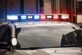 File photo of police car lights.  Flashing Lights on Police Car