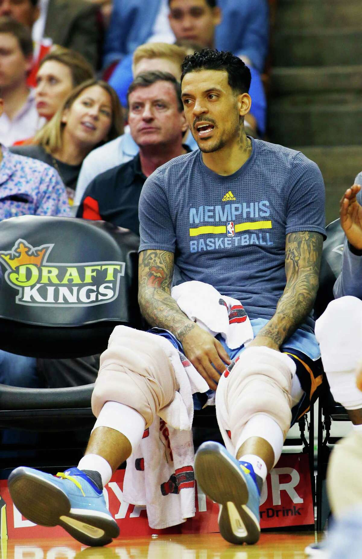 HOUSTON, TX - MARCH 14: Matt Barnes #22 of the Memphis Grizzlies waits on the bench during their game against the Houston Rockets at the Toyota Center on March 14, 2016 in Houston, Texas.