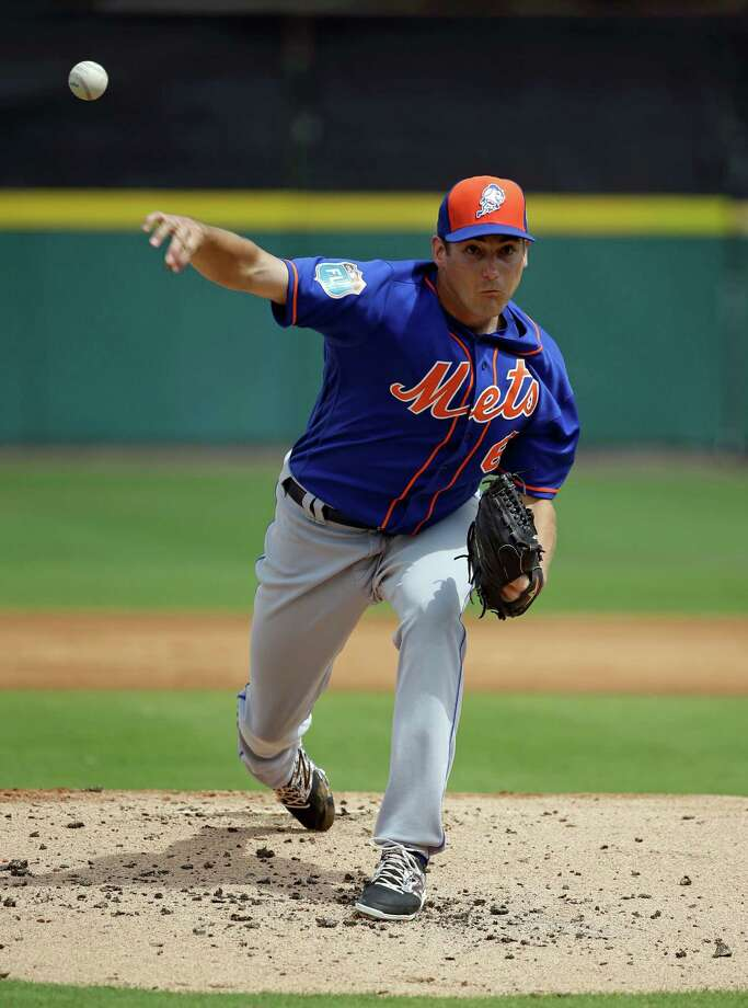 New York Mets starting pitcher Seth Lugo throws in the first inning in a spring training baseball game against the Detroit Tigers, Monday, March 14, 2016, in Lakeland, Fla. (AP Photo/John Raoux) ORG XMIT: FLJR104 Photo: John Raoux / Copyright 2016 The Associated Press. All rights reserved. This m