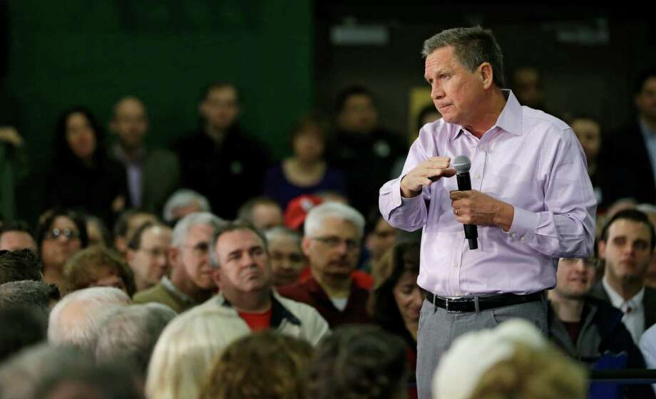 Republican presidential candidate Ohio Gov. John Kasich speaks during a town hall meeting at the Ehrnfelt Recreation Center, Sunday, March 13, 2016, in Strongsville, Ohio. (AP Photo/Tony Dejak) ORG XMIT: OHTD112 Photo: Tony Dejak / Copyright 2016 The Associated Press. All rights reserved. This m